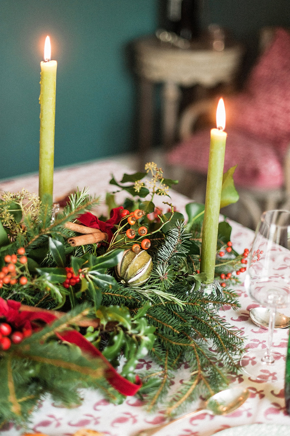 Beautiful festive decoration by Dorset Florist - Martha and the Meadow.