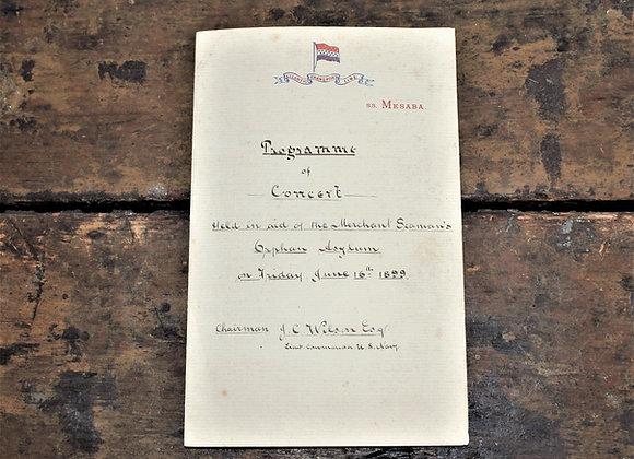 Titanic link - 1899 SS Mesaba Concert Program for Orphan Asylum