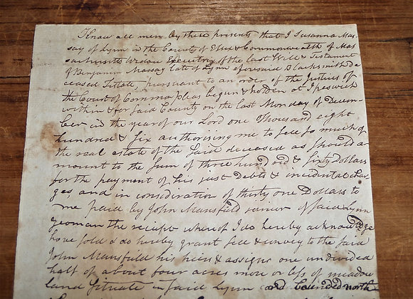 1807 Widow Selling A Meadow at Public Auction-Susanna Massay,Widow of Blacksmith