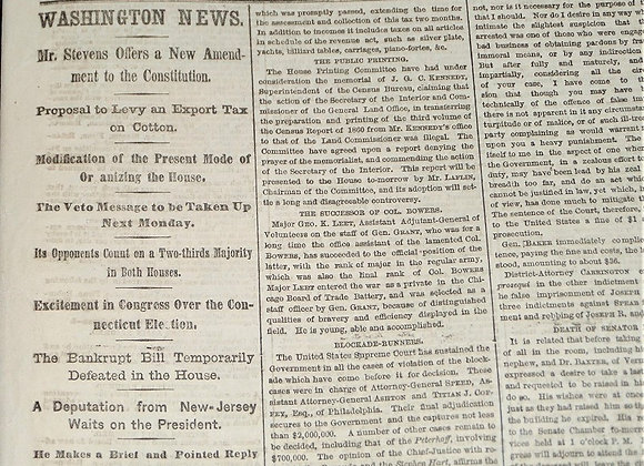 NY Times - The Civil Rights Bill and The Veto -  3/29/1866