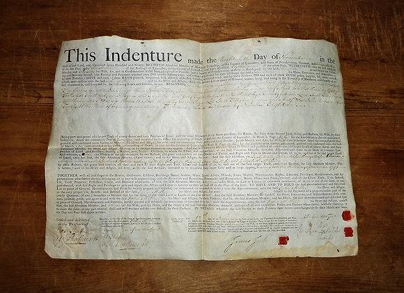 1790 Vellum Deed - Revolutionary War Soldiers Signatures