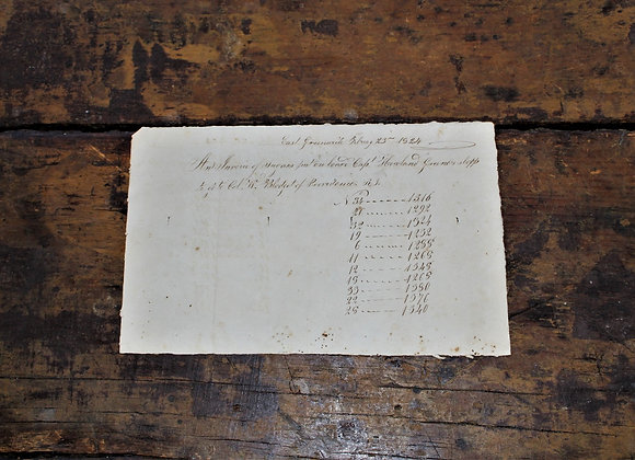 1824 Ship's Invoice for Sugar East Greenwich, Rhode Island