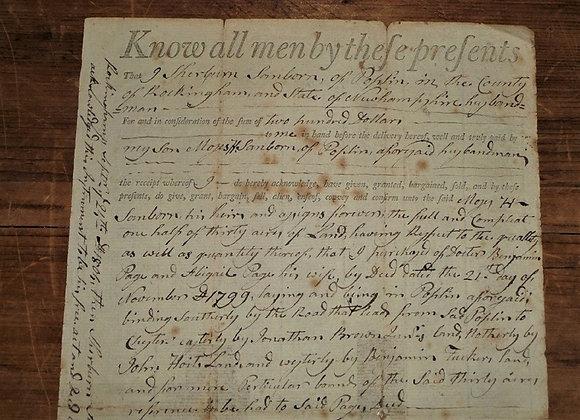 1804 Revolutionary War Soldier Signature on Land Deed - Sgt Sherburn Sanborn
