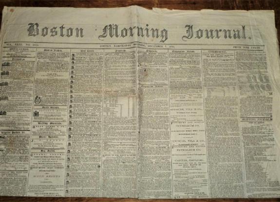 Boston Morning Journal - 12/7/1864 - John Wilkes Booth