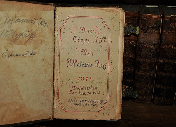1892 Amish Fraktur Bookplate with German Songbook