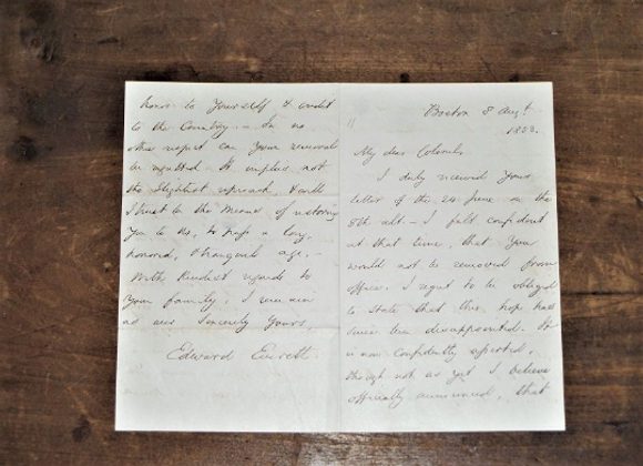 1853 Edward Everett Handwritten Letter as A Senator in the US Congress