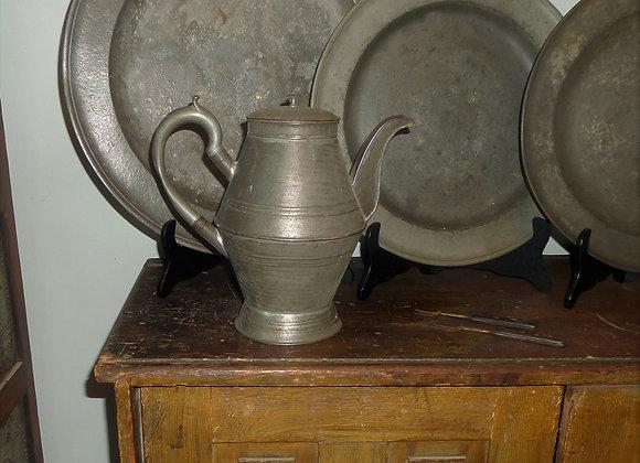 Antique Civil War Era Gooseneck Coffee Pot with Pewter Handle