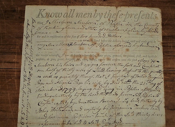 1804 NH Land Deed Revolutionary War Soldier Signature-Antique Manuscript
