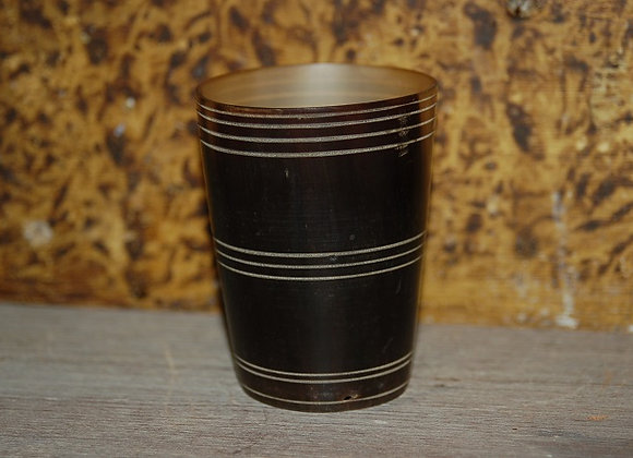 19th Century Scribed Horn Cup with Wood Bottom