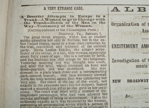 The Great Trunk Tragedy - Deserter Dies - The World Newspaper - January 11, 1865