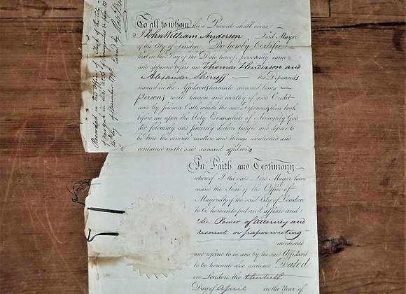 1798 Letter of Introduction for Two London Wine Merchants - Lord Mayor of London