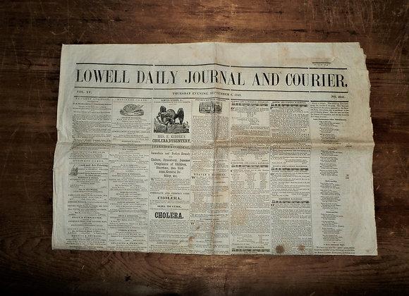 1849 Election - Lowell Daily Journal & Courier - Cholera - Zachery Taylor