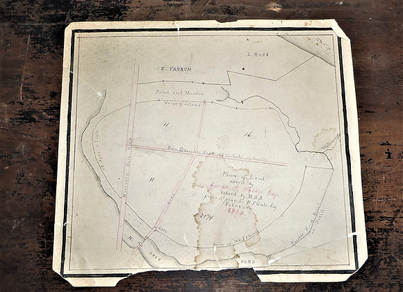 1864 Concord, NH Plot Plan for the Walker Farm on Horse-shoe Island