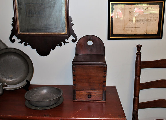 18th Century Walnut Hanging Wall Box in Its Original Patina