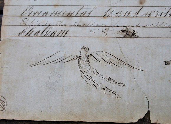 Circa 1810 Angels and Man Drawings on Child's Handwriting Exercise