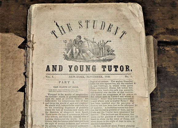 1846-1847 Student and Young Tutor Magazines - Bound into Paperback Book