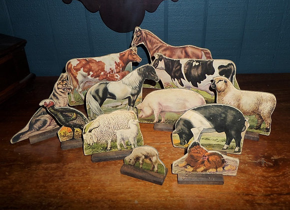 Set of 12 Vintage Lithograph Farm Animals on Stands