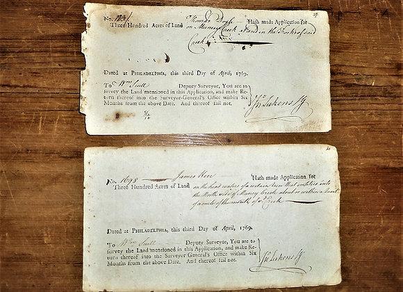 1769 John Lukens Signatures on Land - James Kerr and Thomas Doyle