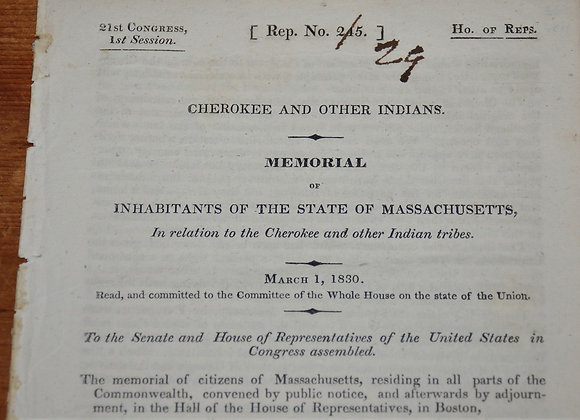 1830 Cherokees and the State of Massachusetts - Trail Of Tears