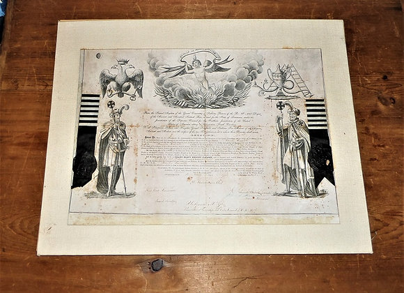 1858 Freemason Scottish Rite 30th Degree Certificate - New Orleans Chapter