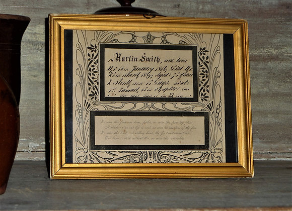 1889 Martin Smith Remembrance Fraktur/Pen and Ink Drawing