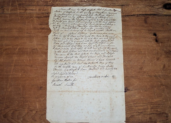 1772 Deed Signed by Lt Samuel Smith Revolutionary War Soldier Hatfield MA