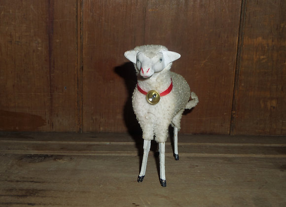 """Antique German Putz 5"""" Ewe with Red Collar and Bell"""