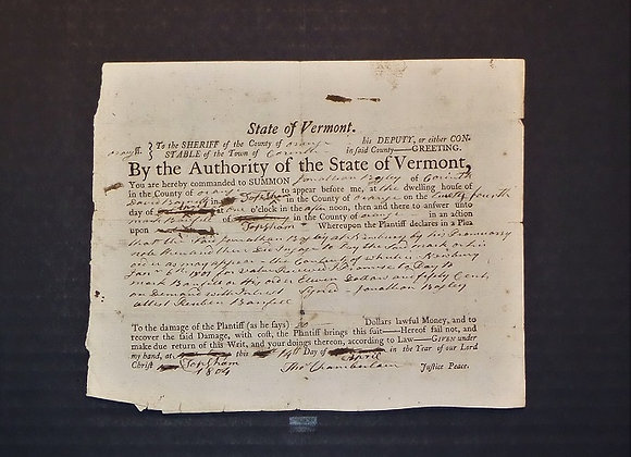 1804 Vermont Sheriff's Summons for Overdue Payment by a Jonathan Bayley to a Reu