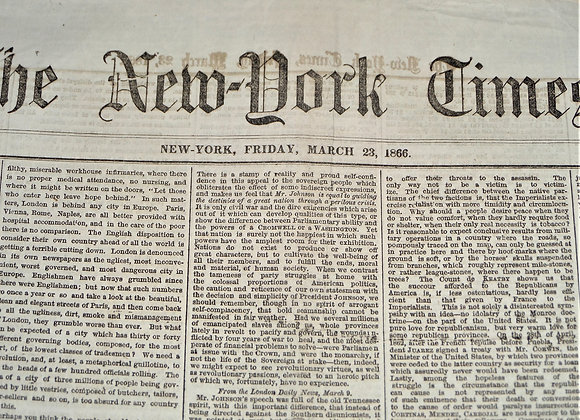 Exempting Disabled Solders From Licensing Fees - NY Times - March 23,1866