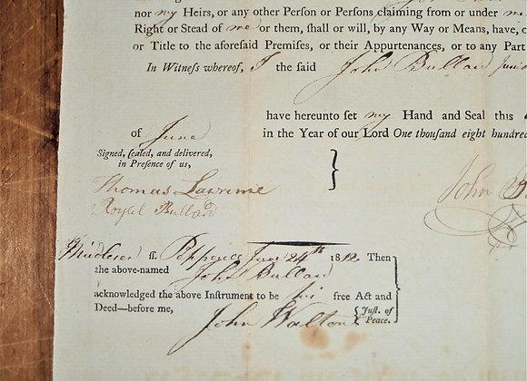 1812 Land Deed Major Thomas Lawrence Bunker Hill Antique Manuscript
