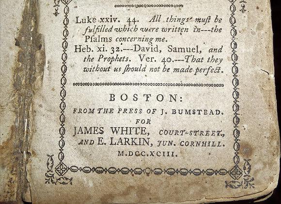 1793 Psalms of David - American Printing - Isaac Watts