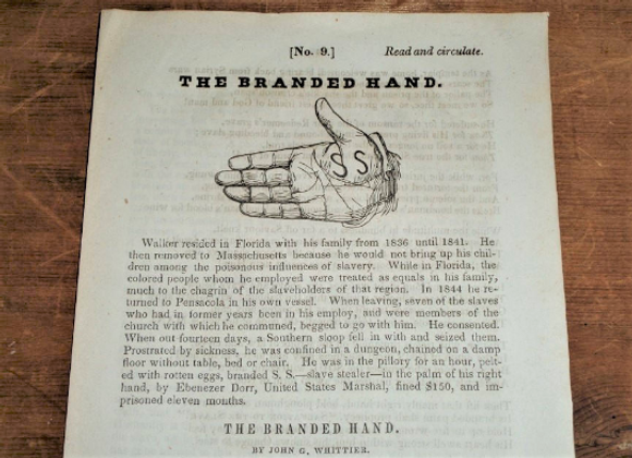 1848 'The Branded Hand' by John Greenleaf Whittier - Extremely RARE