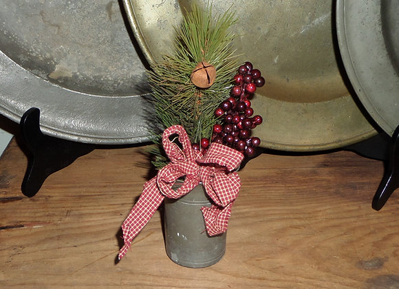 Antique Pewter Tumbler All Dressed Up for Christmas