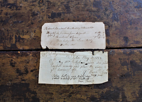 Captain Richard Derby - Two 18th Century 'Chits' or Payment Receipts
