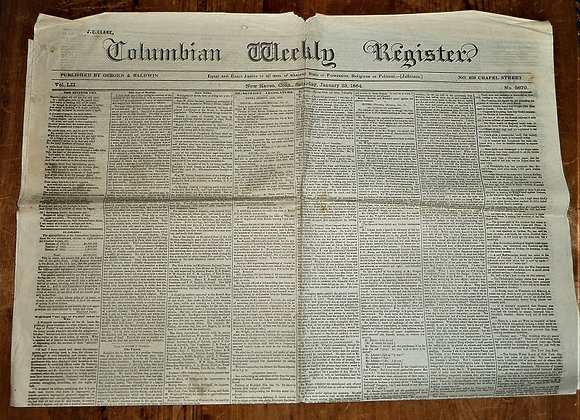 Columbian Weekly Register Newspaper - New Haven CT - Civil War - 1/23/1864