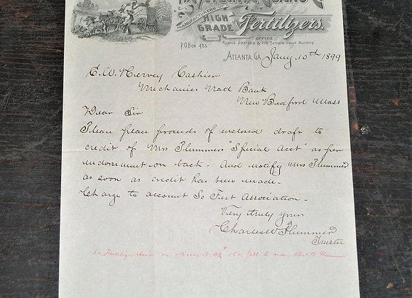 The Atlanta Guano Company Letter with Letterhead