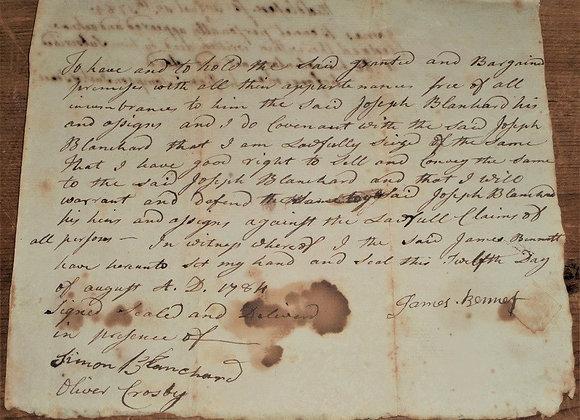 1784 Land Deed Revolutionary War Soldier Signature-Antique Manuscript