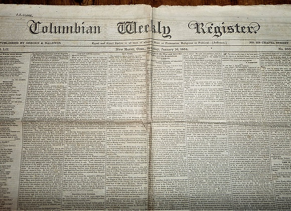 Columbian Weekly Register Newspaper - Civil War - 1/16/1864