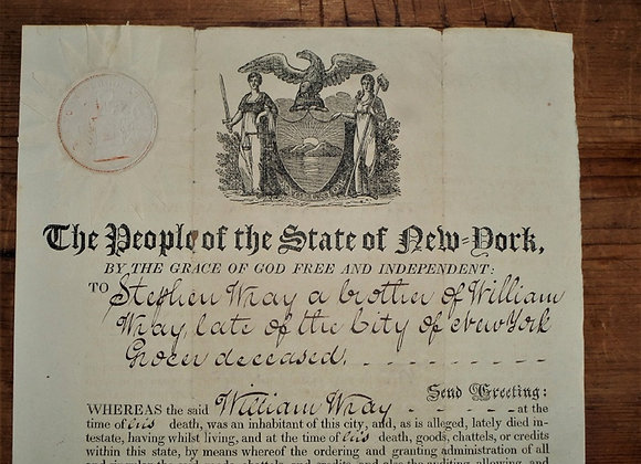 1820 Death and Probate Decree for William Wray - New York City Grocer