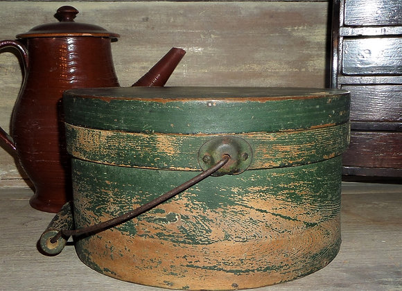 Bail Handle Pantry Box in Its Original Green Paint-Mid 19th Century