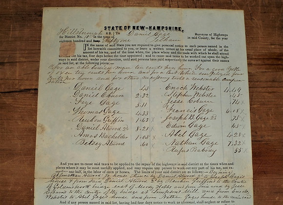 1851 New Hampshire Highway Tax Form - Manual Labor to Pay Part of Tax
