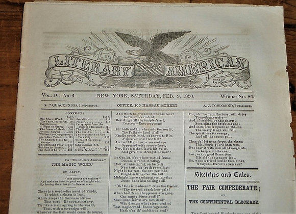 1850 Literary American with Daguerreotype Advertisement