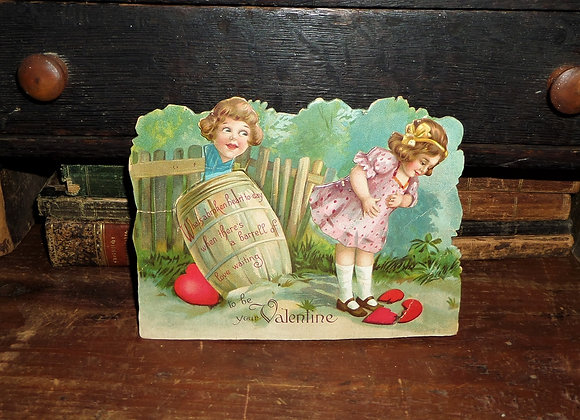 1924 Mechanical Valentine with a Little Boy in a Barrel