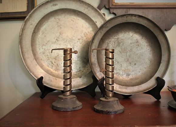 A Matched Pair of 18th Century Spiral Courting Candles with Their Original Bases