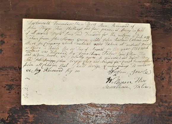 1777 Stolen Molasses - John Tripp - Massachusetts