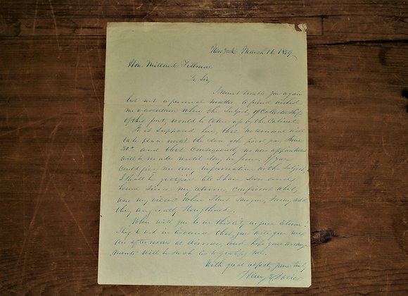1849 Millard Fillmore Letter written by Henry E Davies-Collector of NY
