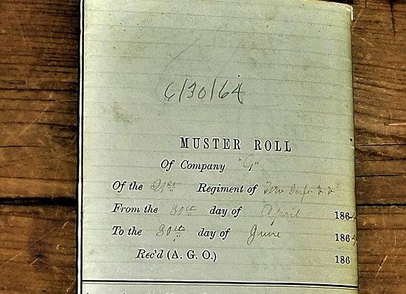 1864 Muster Roll Missouri 21st Regt. G Company