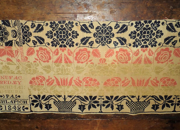 1842 Colorful Coverlet Piece with Date Block and Great Colors