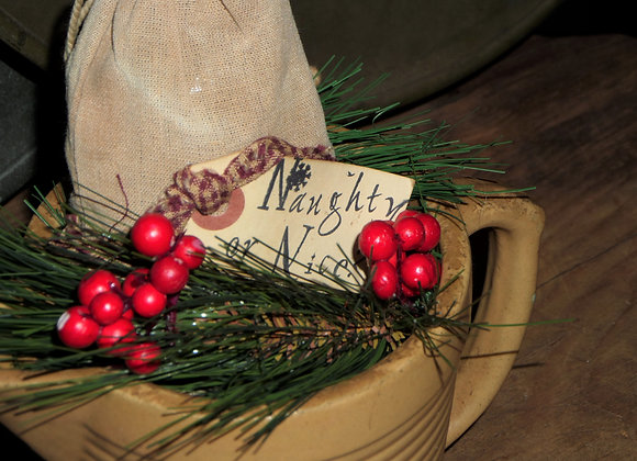Christmas Cheer in a Small Yellowware Pitcher