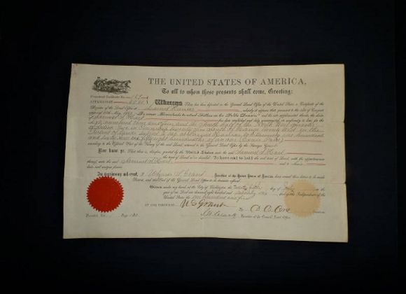 1876 Larned, Kansas Homestead Certificate/Grant for Samuel S Hart